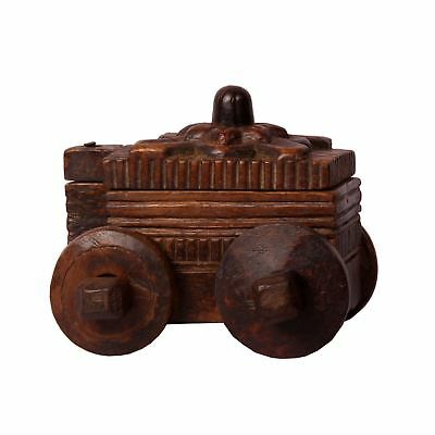 Antique Old Hand Made Wooden Tika Box Rare Vintage On Wheels