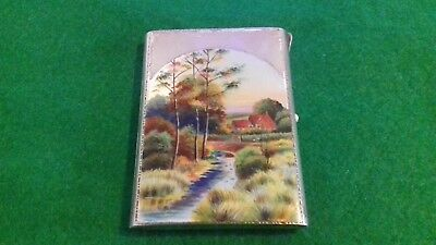 Beautiful Solid Silver and Enamel Card Case Depicting a Garden Scene.