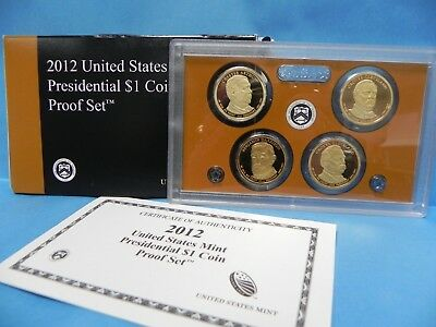 2012 United States Mint Presidental $1 Coin Proof Set with BOX & COA