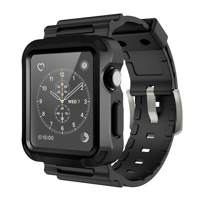 Apple Watch Series 3 Rugged Protective Case Black Strap Bands 42mm Black NIB