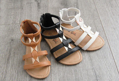 Girls Toddler Kids Zipper and Buckle Gladiator Summer Sandals Shoes size 5-10