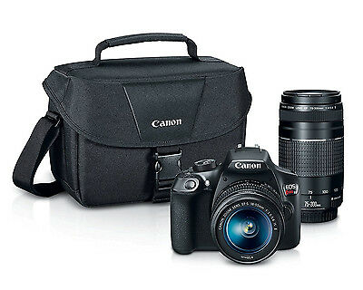 Canon DSLR Camera Bundle, EOS Rebel T6 w 18-55mm, 75-300mm Lenses & Camera Case!