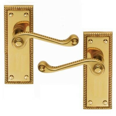 GEORGIAN BRASS DOOR HANDLES LEVER LATCH ROPED EDGE with fittings D7