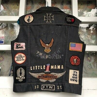 VTG Harley motorcycle club biker vest patches Ladies property of LIL MAMA 70s