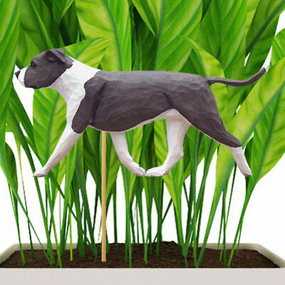 American Staffordshire Bull Terrier Planter Pick Stake Blue/White Uncropped