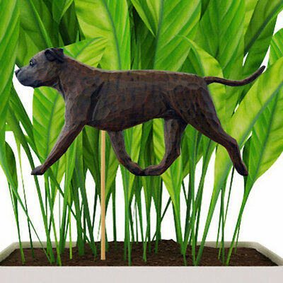 American Staffordshire Bull Terrier Planter Pick Stake Brindle Uncropped