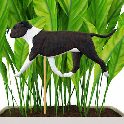 American Staffordshire Bull Terrier Planter Pick Stake Brindle/White Uncropped