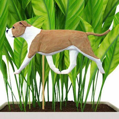American Staffordshire Bull Terrier Planter Pick Stake Fawn/White Uncropped