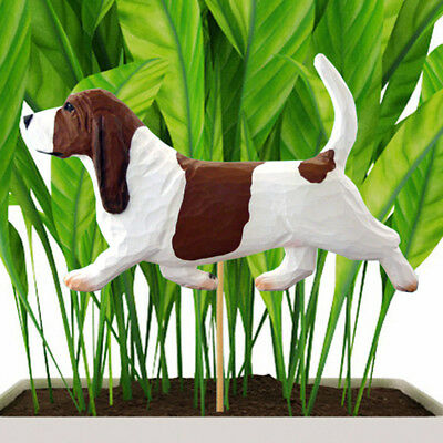 Basset Hound Planter Pick Stake Red