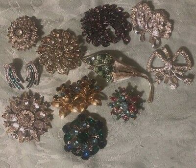 Vintage Lot Of Rhinestone Costume Jewelry Beautiful Brooches and Earrings