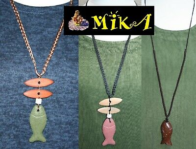 """FISH NECKLACE Stone/Wood Pendant 30""""- 40"""" Long Red/Green/Brown Cord Quirky LUCKY"""