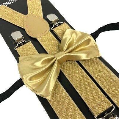 Champagne Gold Suspender and Bow Tie Set Wedding Formal for Men Women (USA)