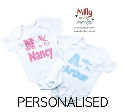 PERSONALISED unisex baby clothing vest babygrow baby shower ANY INITIAL & NAME