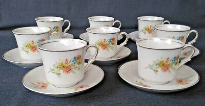 Vintage Favolina China Tea Cups and Saucers - Made in Poland - Set of 8