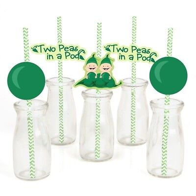 Twins Two Peas in a Pod Paper Straw Decor - Baby Shower or Birthday Party with
