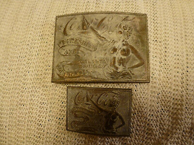 Rare - Solid Brass - Pair Of Coca Cola- One Large , One Small- Belt Buckles