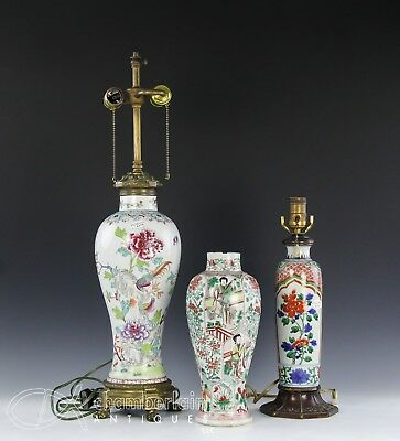 Lot Of Three Old Chinese Porcelain Vases Lamps Etc W Kangxi