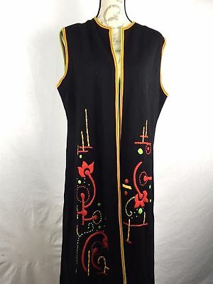 Vintage 70's Palena Long Marfim Duster Embroidered Boho Maxi Womens 100% Wool