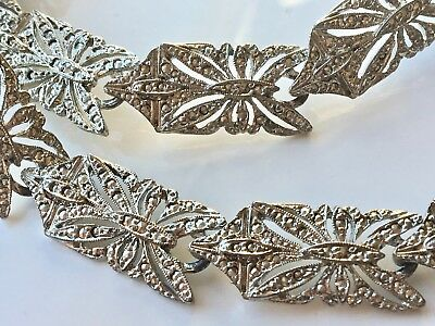 Vintage 70s Silver Tone MARCASITE Deco Style Link Necklace - 18inch
