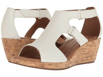 24635b93795 Women s Shoes Clarks Un Plaza Strap Caged Open Toe Wedge 33265 White  New