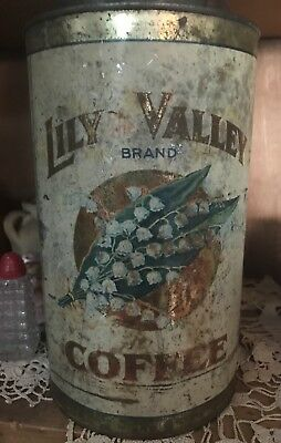 Antique  3 Lbs. Lily Of The Valley Tin  Litho Coffee  Can Vintage Grocery Store