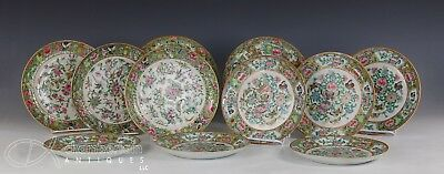 Lot Of 11 Old Chinese Famille Rose Porcelain Plates