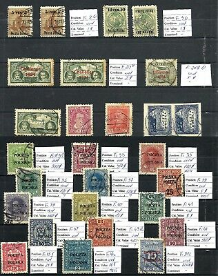Stamps 1918 - 1919 LOT  Poland Issues Used Fi.2 - 269