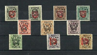 Old stamps Issue Central Lithuania 1919 Mh * LOT Fi.1-12 *