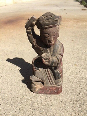 Antique Chinese Wooden Altar Statue of an Immortal with Seal