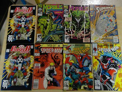 8 english comics, punisher, spiderman, superman,morbius