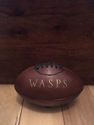 Personalised Mini Vintage Leather Rugby Ball Wasps gift