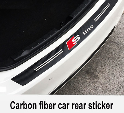 Audi Carbon Fiber Sline Car Bumper Sticker Stylish Boot Emblem Black 3D 90x11cm