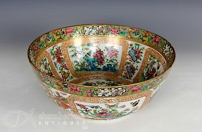 Large Antique Chinese Export Famille Rose Porcelain Punch Bowl