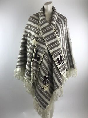Vintage ALPACA Wool Poncho Scarf fringe Hand made Women's One Size Embroidered