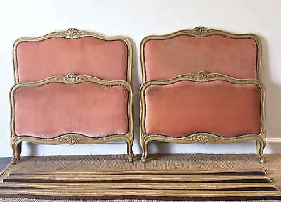 French Vintage Pair of Beds Parisian Louis XV Style Original Painted - QN085
