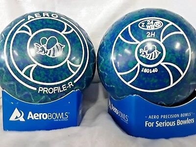"AERO PROFILE R LAWN BOWLS SIZE 2 HEAVY WEIGHT Zig Zag GRIP ""BEE"""