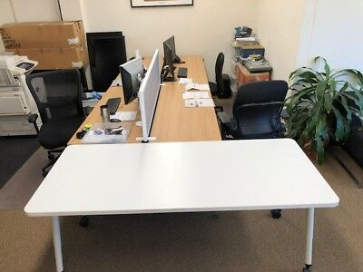 OFFICE 1800MM WHITE TABLE ON WHEELS Artarmon