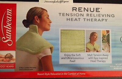 NIB sealed Sunbeam RENUE Tension Relieving Heat Therapy Electric Heating Pad