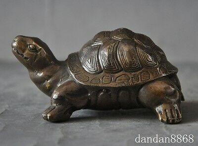 old chinese fengshui bronze longevity animal small Turtle tortoise lucky statue