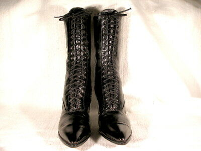 VINTAGE TALL EDWARDIAN ERA BLACK LEATHER LACE UP BOOTS US 8 1/2 or 9