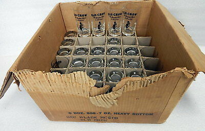 Group Of 34 Old Crow Bourbon Whiskey 7 Oz Heavy Glasses Frankfort KY & Box