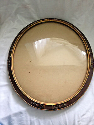 Vintage OVAL WOODEN PICTURE FRAME Convex Glass Ornate FLORAL FLOWERS gold gesso