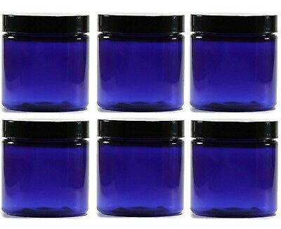 (240ml, Blue) - 240ml BLUE Glass Jar Straight Sided with Black Lid - Pack of 6