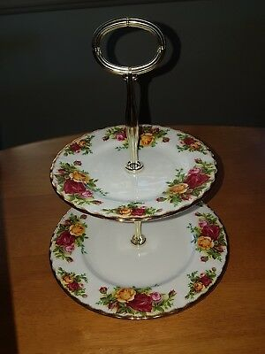 Royal Albert old country roses 2 tier cake stand