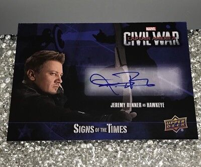Jeremy Renner Signed Marvel Upper Deck Civil War  Hawkeye Card Signs Of The Time