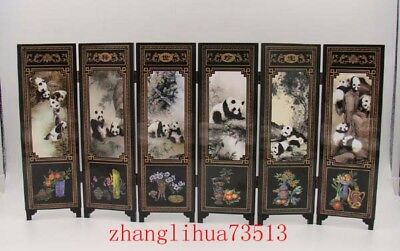 6PC Delicate Double Sided Folding Lacquer Painting Panda Screen Deco Art