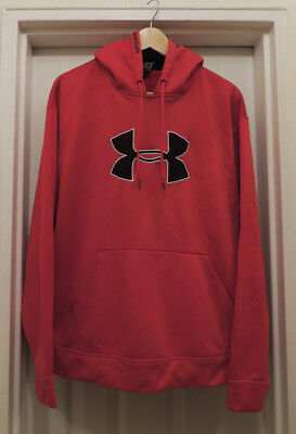 Under Armour Unisex Hoodie Red Fleece Sweatshirt Logo Front Youth size Large