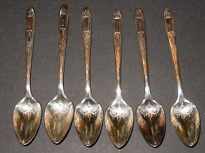 6 ONEIDA Community Grosvenor Pattern Silver Plate Fruit/Orange Spoons