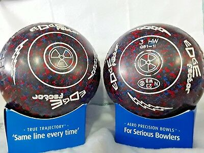 "ALMARK EDGE ""FACTOR"" LAWN BOWLS SIZE 3 HEAVY WEIGHT GRIPPED ""nuclear"""