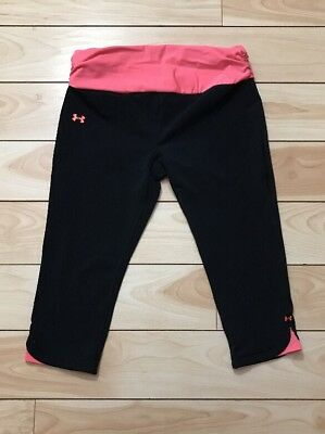 Under Armour Heat Gear Women's RUNNING Leggings Large Compression Black Pink